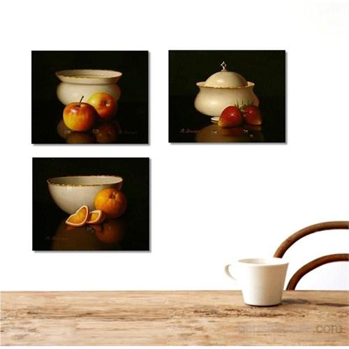 Meyve Tabağı - 3 Parçalı Kanvas Tablo