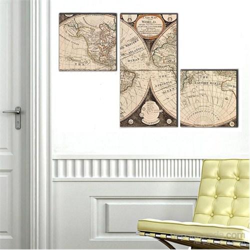 Antik Harita - 3 Parçalı Kanvas Tablo