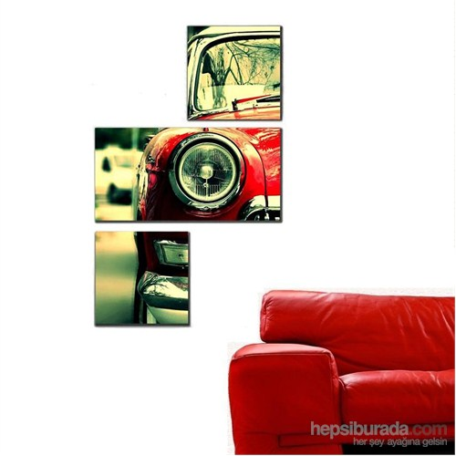 Kırmızı Araba - 3 Parçalı Kanvas Tablo