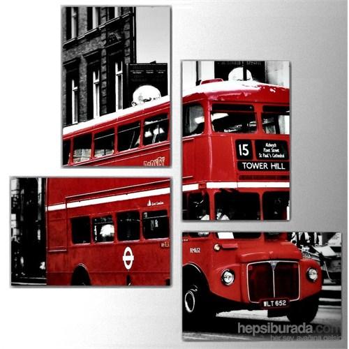 Kırmızı Otobüs - 4 Parçalı Kanvas Tablo