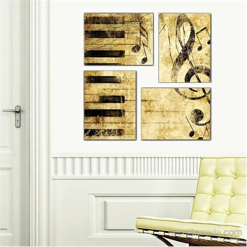 Piano Ve Müzik - 4 Parçalı Kanvas Tablo