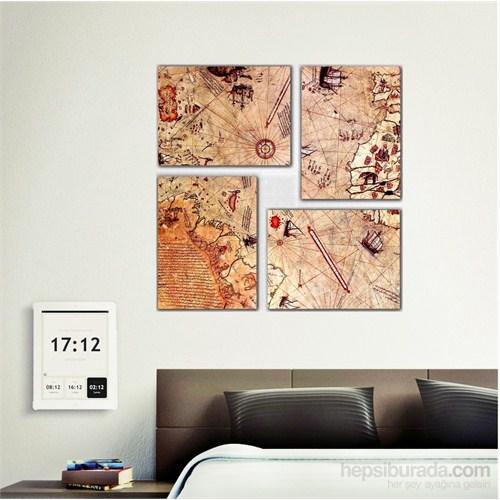 Piri Reis Haritası - 4 Parçalı Kanvas Tablo