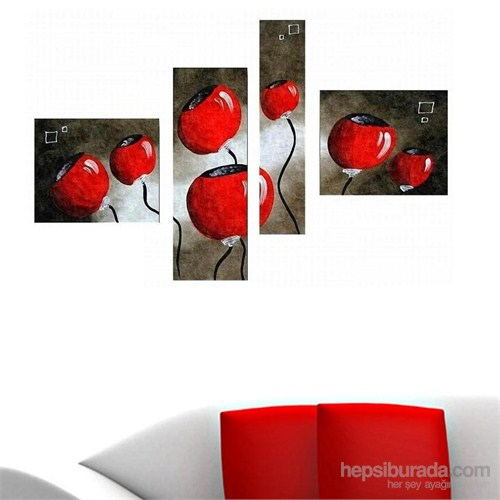 Kırmızı Çiçekler - 4 Parçalı Kanvas Tablo