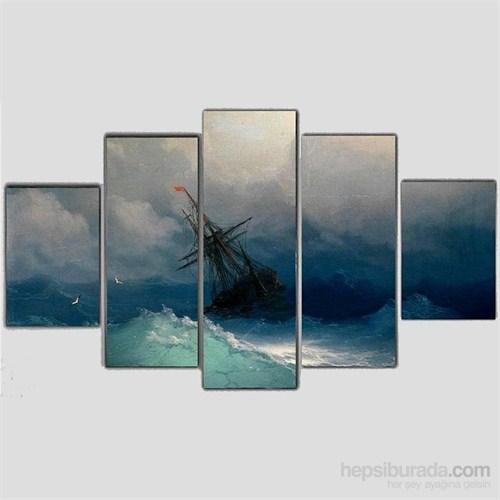 Okyanusta Gemiler - 5 Parçalı Kanvas Tablo - 133X75 Cm