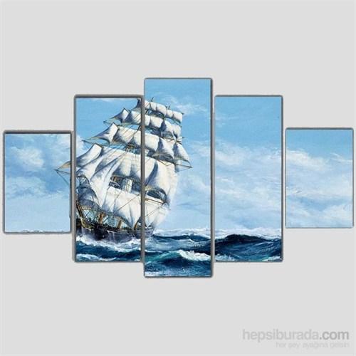 Yelkenli - 5 Parçalı Kanvas Tablo - 133X75 Cm