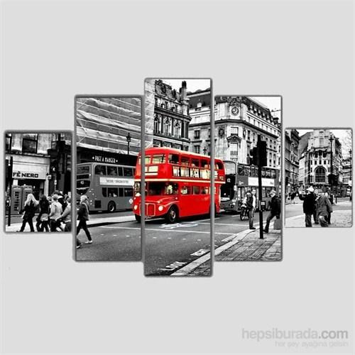 Londra Otobüsü - 5 Parçalı Kanvas Tablo - 133X75 Cm