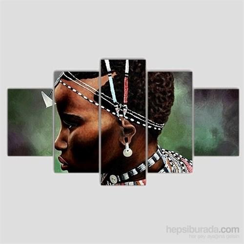 Afrikalı Çocuk - 5 Parçalı Kanvas Tablo - 133X75 Cm