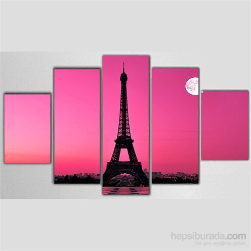 Paris Eyfel - 5 Parçalı Kanvas Tablo - 133X75 Cm