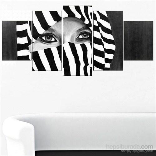 Siyah Beyaz - 5 Parçalı Kanvas Tablo