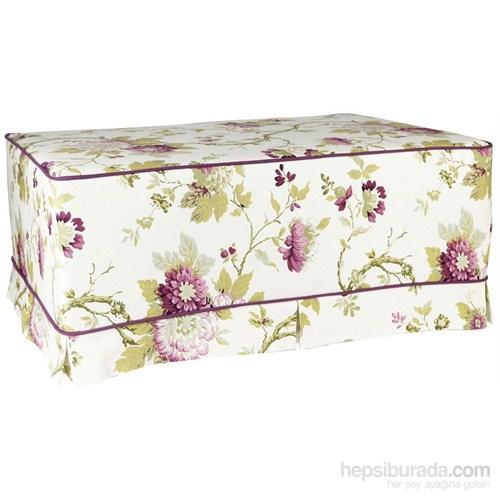 Yastıkminder Koton Çiçek Desenli Mor Fitilli Kemik Puf