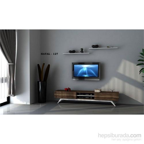 Hayal 127 Tv Ünitesi Leon Ceviz/Parlak Beyaz