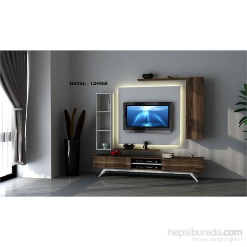 Hayal 124568 Tv Ünitesi Leon Ceviz/Parlak Beyaz