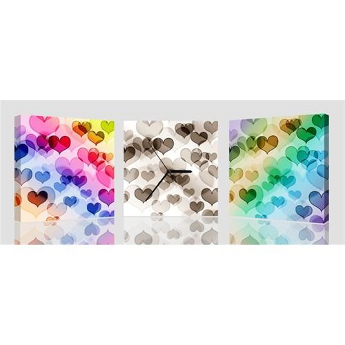 Arte Trio Colored Hearts Kanvas Saat