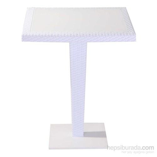 Tilia Antares Masa 70X70 Cm Cam Tabla Beyaz