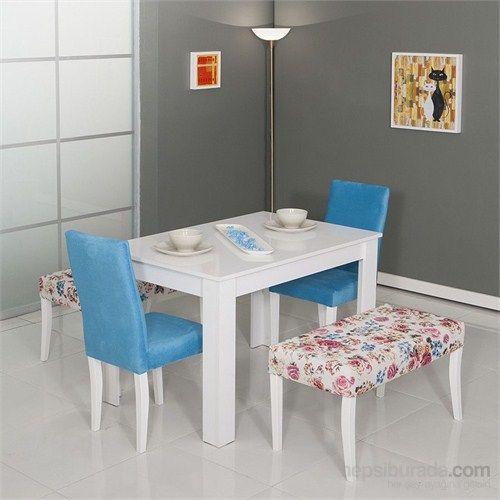 Moda Life Mobetto Hanımeli Masa Seti (Mavi)