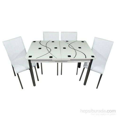 Mavi Mobilya Mutfak Cam Masa Takımı Ortadan Açılır Beyaz Kare Desen (4 Suni Deri Sandalyeli)