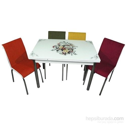 Mutfak Cam Masa Takımı Yandan Açılır Çiçek Demeti Desen (6 Kumaş Sandalyeli)