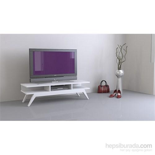Sanal Mobilya New Retro Tv Sehpası Parlak Beyaz