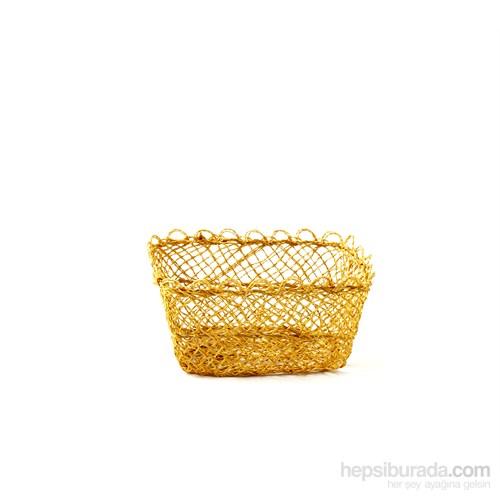 Kancaev İnce Hasır Sepet Küçük Sarı