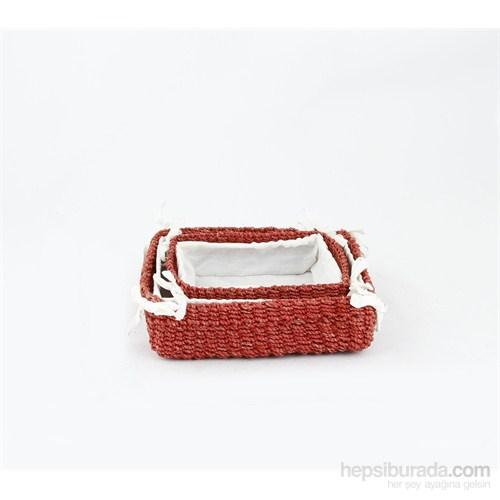 Kancaev Dikdörtgen İçi Kumaşlı Hasır Sepet 2'Li Set Kırmızı