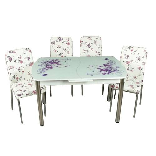 Mavi Mobilya Mutfak Cam Masa Takımı Otomatik Açılır Lila Çiçek Desen (4 Suni Deri Sandalyeli)
