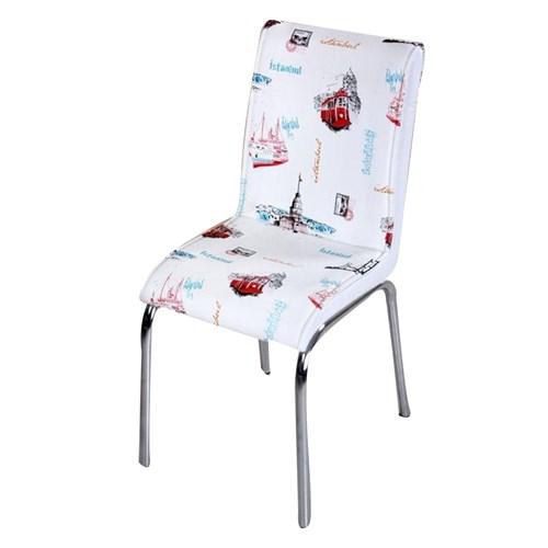 Mavi Mobilya Sandalye İstanbul Desen Suni Deri (6 Adet)
