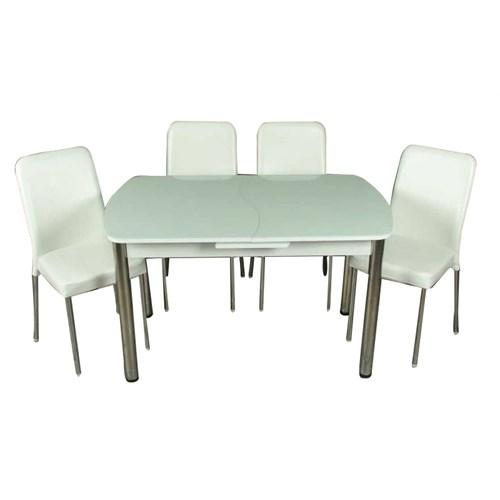 Mavi Mobilya Mutfak Cam Masa Takımı Otomatik Açılır Beyaz (6 Suni Deri Sandalyeli)