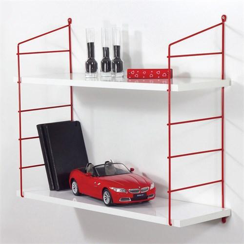 Decormet Armoni Raf ve Kitaplık Seti 2 Raflı 200X720 Kırmızı-Parlak Beyaz