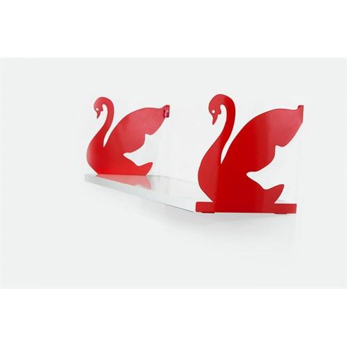 Decormet Kuğu Raf ve Kitaplık Seti 20X60 Kırmızı-P.Beyaz