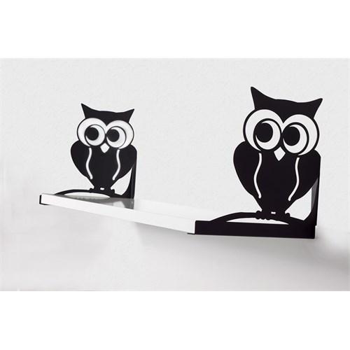 Decormet Baykuş Raf ve Kitaplık Seti 20X60 Siyah-P.Beyaz