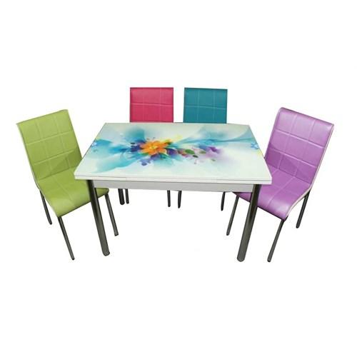 Mavi Mobilya Mutfak Cam Masa Takımı Yandan Açılır Turkuaz Çiçek Desen (4 Suni Deri Sandalyeli)