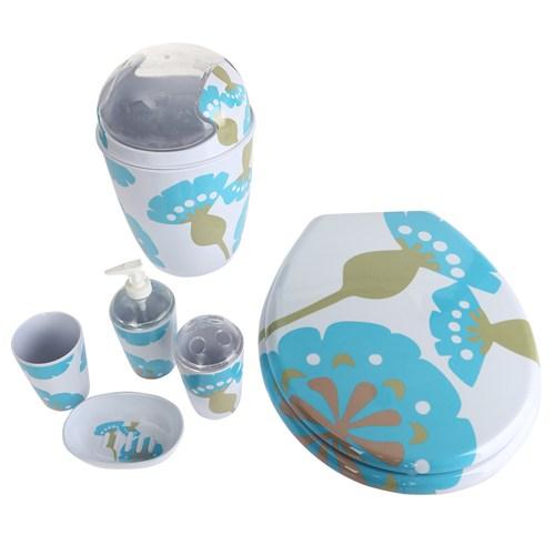 Bosphorus Mavi Yapraklı Melamin Banyo Set 6 Lı