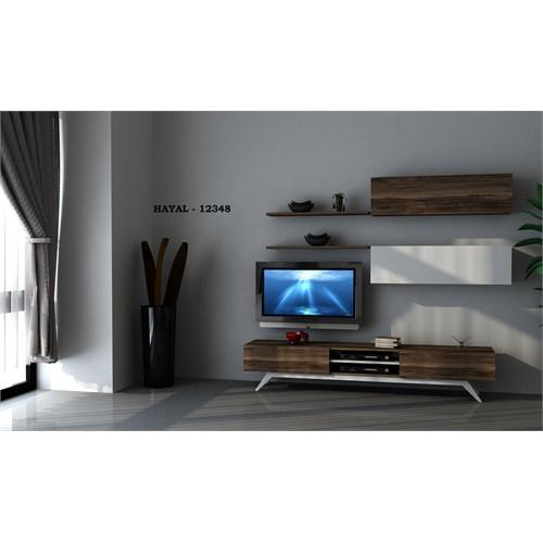 Hayal (12348) Tv Ünitesi-Leon Ceviz-Parlak Beyaz