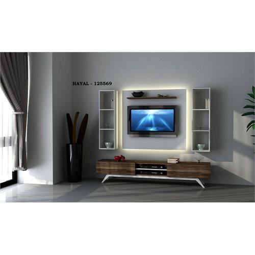 Hayal (125569) Tv Ünitesi-Leon Ceviz-Parlak Beyaz