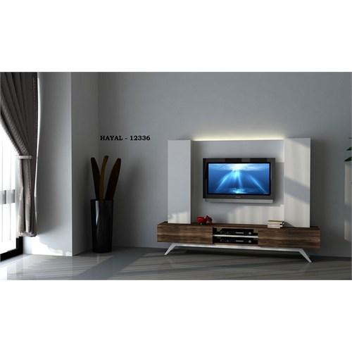 Hayal (12336) Tv Ünitesi-Leon Ceviz-Parlak Beyaz