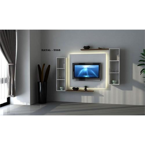 Hayal (5568) Tv Ünitesi-Leon Ceviz-Parlak Beyaz