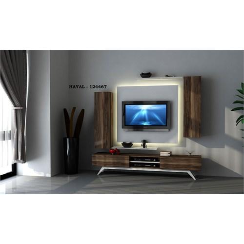 Hayal (124467) Tv Ünitesi-Leon Ceviz-Parlak Beyaz
