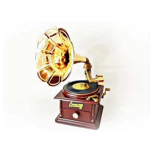 Buffer Gramofon Şeklinde Takı Çekmeceli Müzik Kutusu