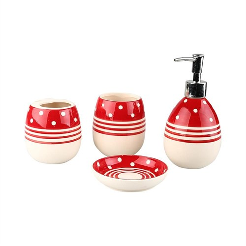 Evino 4'Lü Banyo Seti - Kırmızı