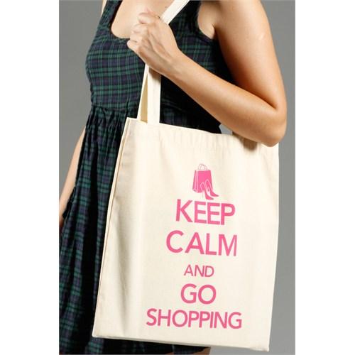 Urbangiftkeep Calm And Go Shoppıng Cotton Tote Bag 40*40Cm