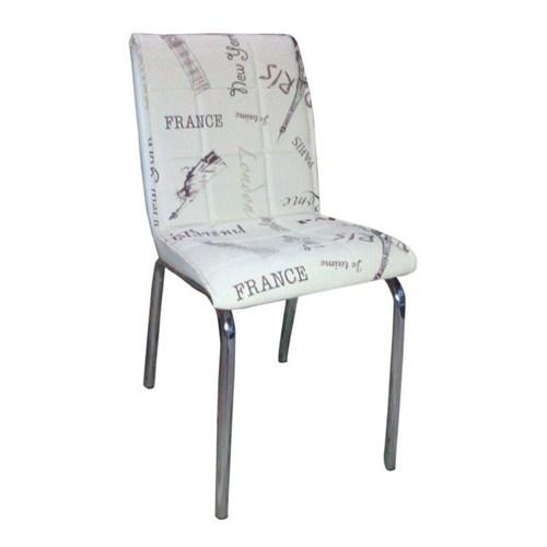 Mavi Mobilya Sandalye Beyaz Paris Suni Deri (4 Adet)