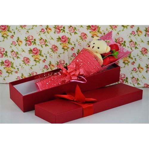 Cosiness Hediyelik Buket Kutu İçinde Kokulu Gül Ve Ayıcık-Kırmızı