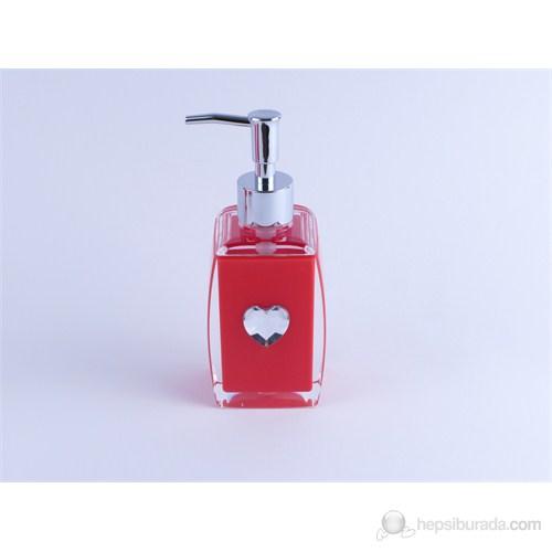 Kırmızı Kalpli Akrilik Sıvı Sabunluk