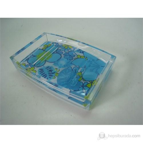 Mavi Cicekli Akrilik Sabunluk