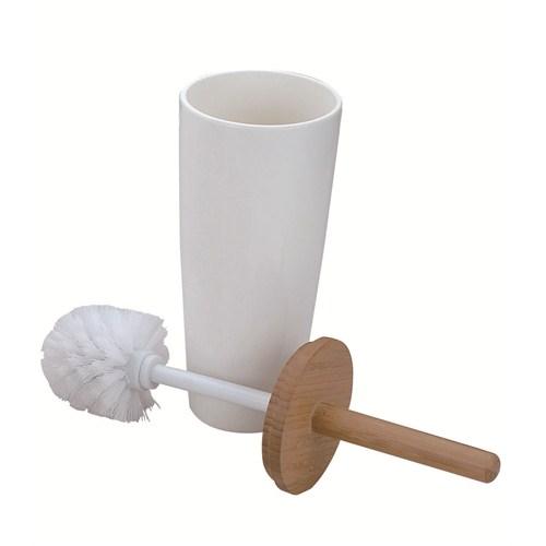 Beyaz Melamin Bambu Tuvalet fırçası