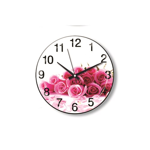 Time Gold Side Duvar Saati Kırmızı Çiçekler