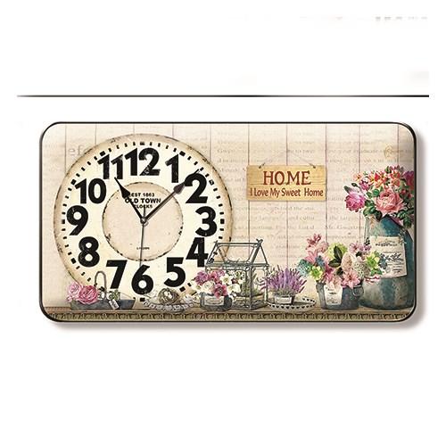 Time Gold Sardunya Duvar Saati Çiçek