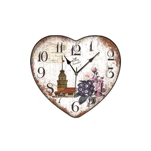 Time Gold Yasemin Duvar Saati İstanbul Kız Kulesi Çiçek