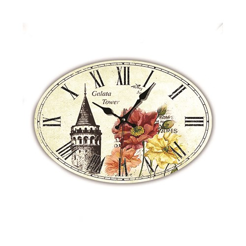 Time Gold Mdf Roma Rakamlı Duvar Saati Galata Kulesi