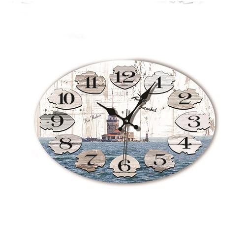 Time Gold Mdf Roma Rakamlı Duvar Saati Kız Kulesi